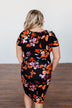 Evening Oasis Floral Cinched Dress- Black & Orange