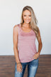 Right Where I Belong Striped Tank Top- Mauve Pink