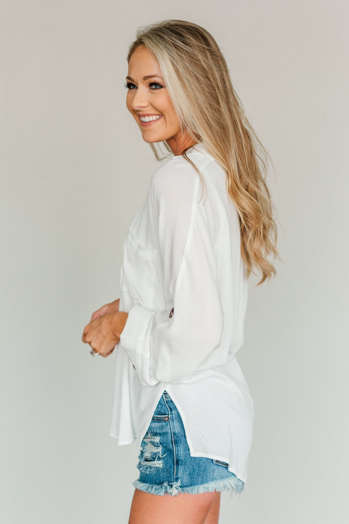 Creating Memories Button Down Pocket Top- Off White