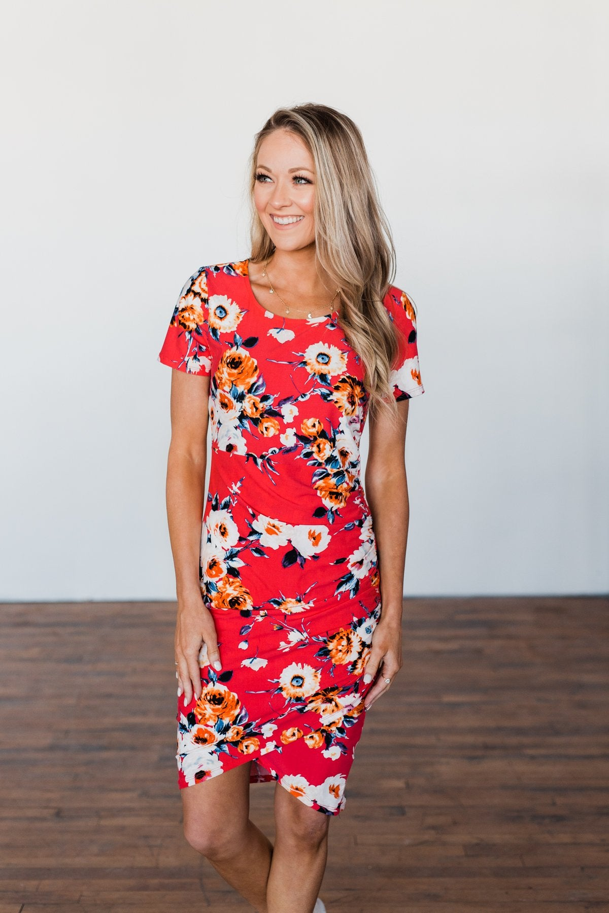 Infatuated By You Floral Cinched Dress- Deep Coral