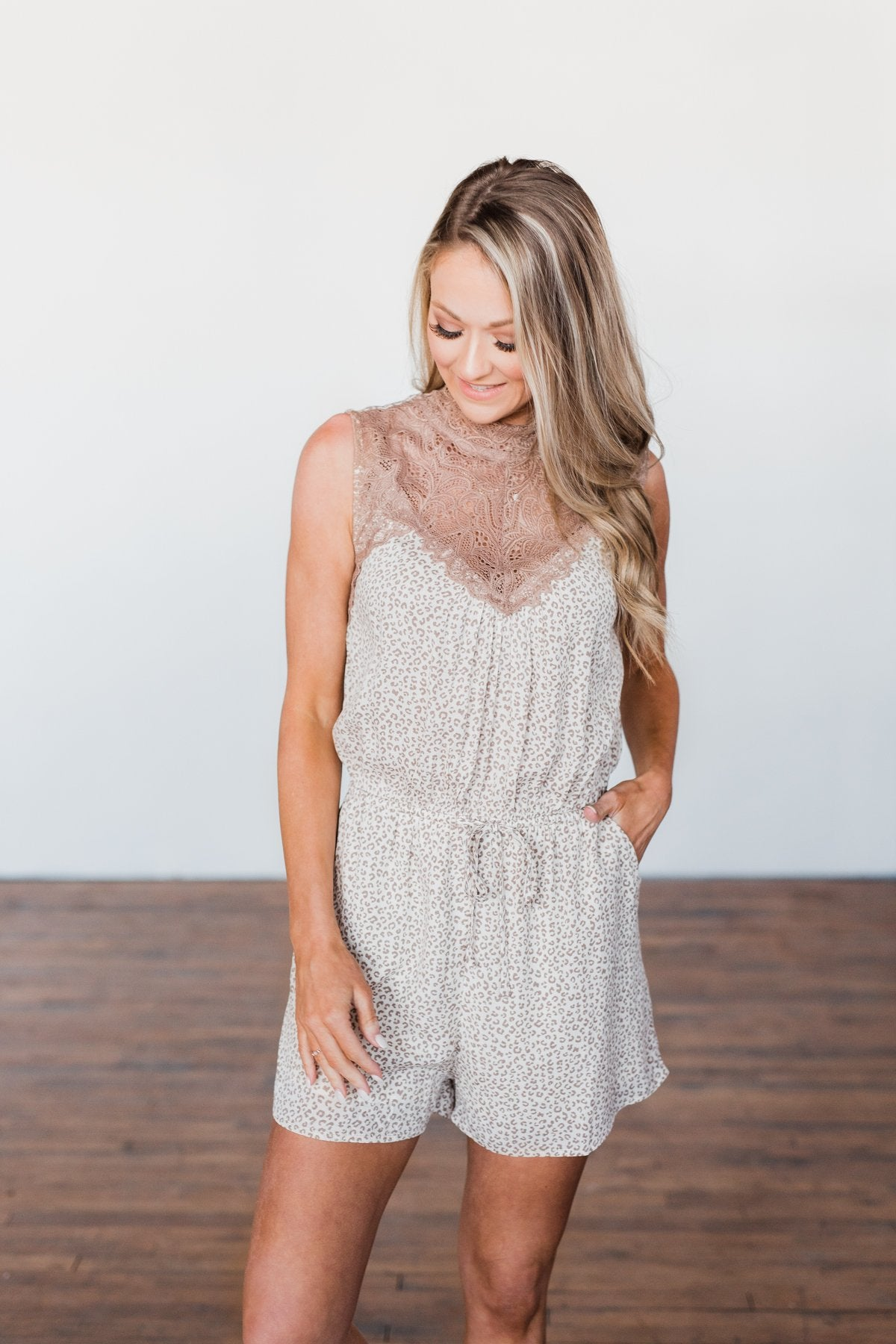 Stay Wild Lace Romper- Neutral Leopard