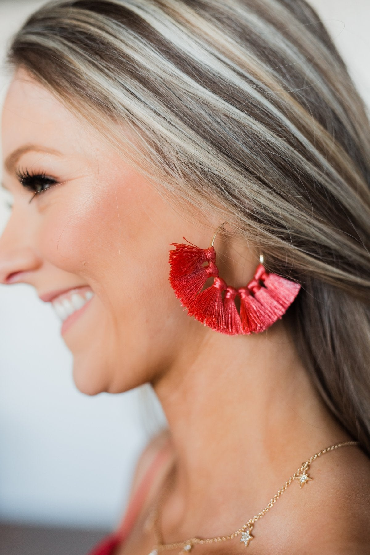 Tassel Gold Hoop Earrings- Dark Coral