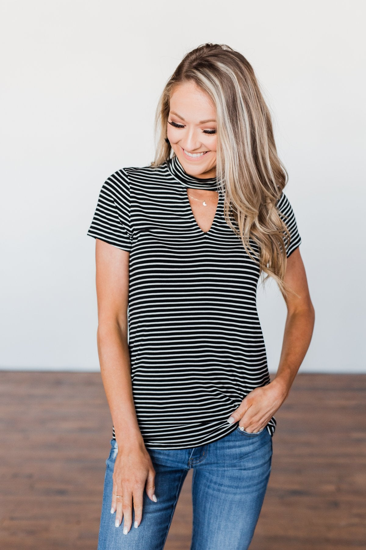 Learning To Fly Striped Keyhole Top- Black & Ivory