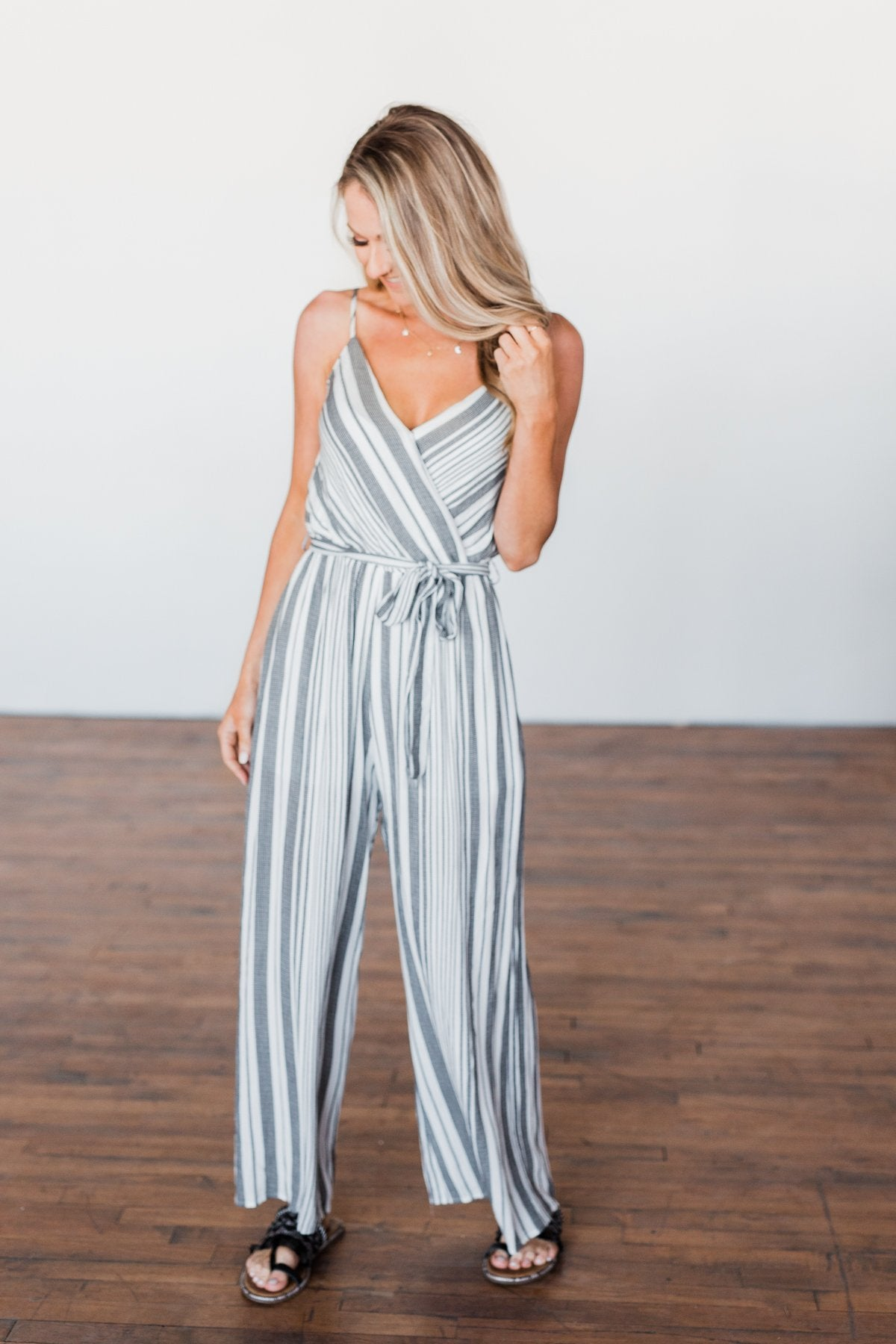 The Day Is Calling Striped Jumpsuit- Black & Ivory