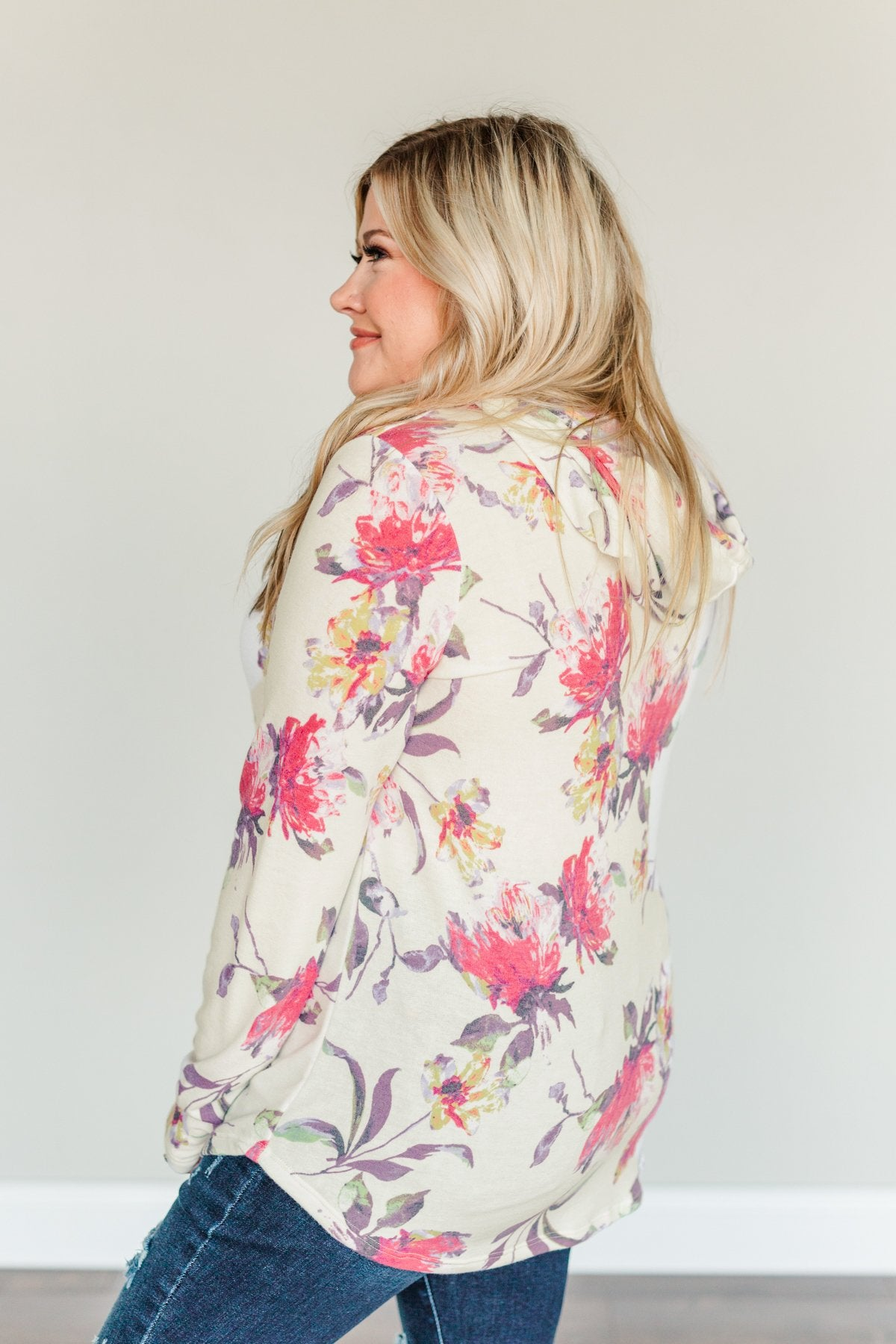 Near & Dear Wishes Floral Drawstring Hoodie- Off-White