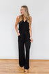 Sleeveless V-Neck Drawstring Jumpsuit- Black