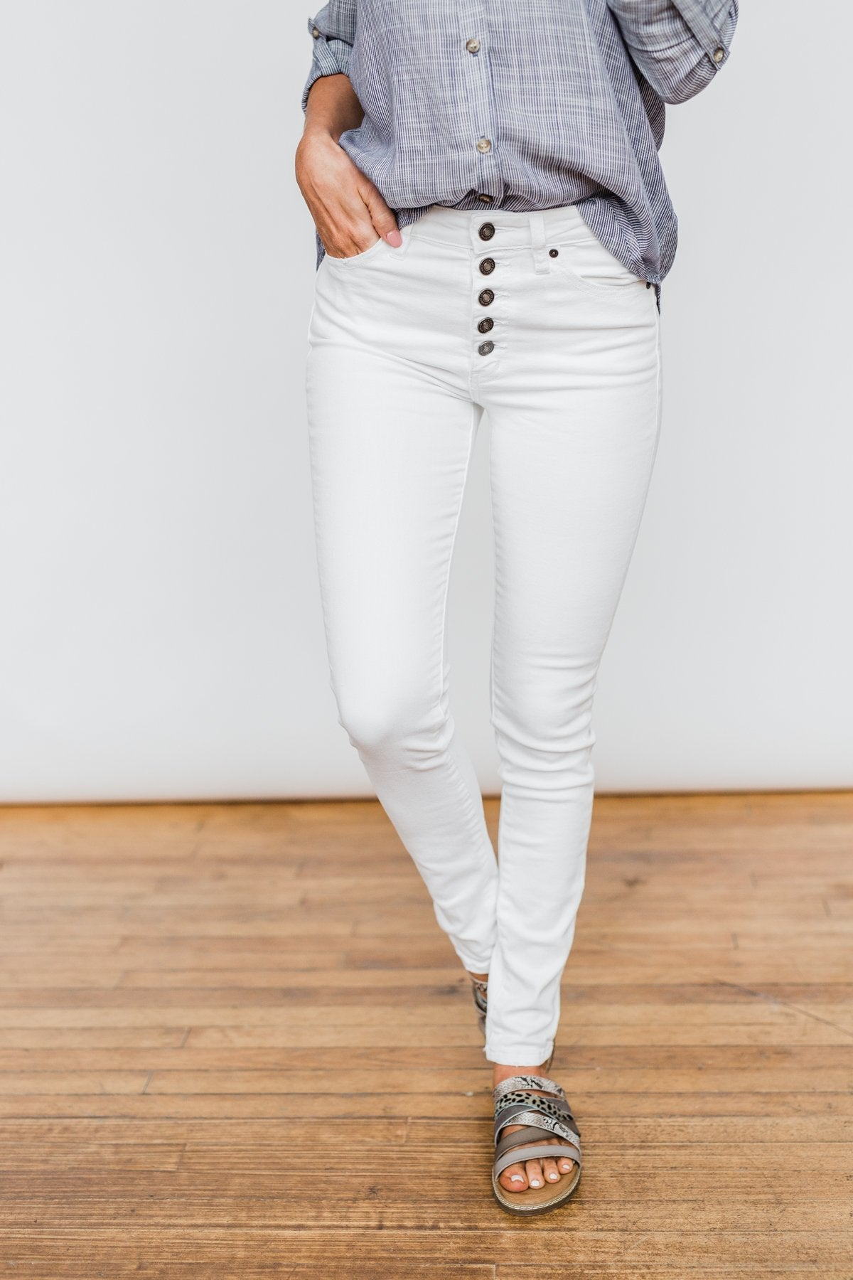 KanCan Button Fly Jeans- White Hope Wash
