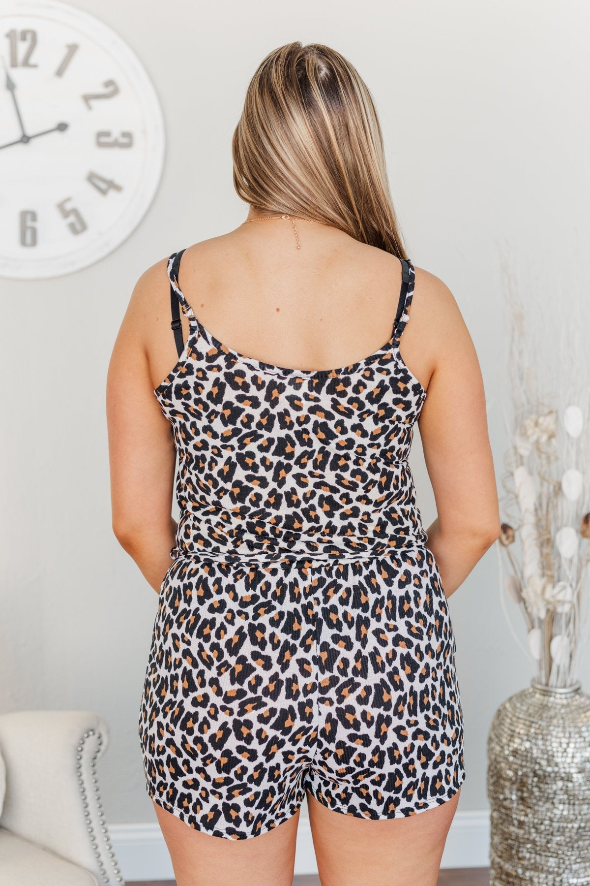 Adventures With You Leopard Print Romper- Natural