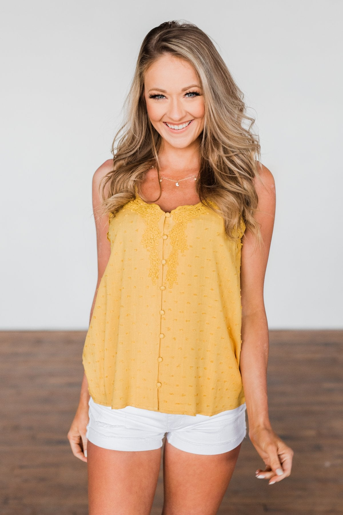Take A Stand Crochet Tank Top- Golden Yellow
