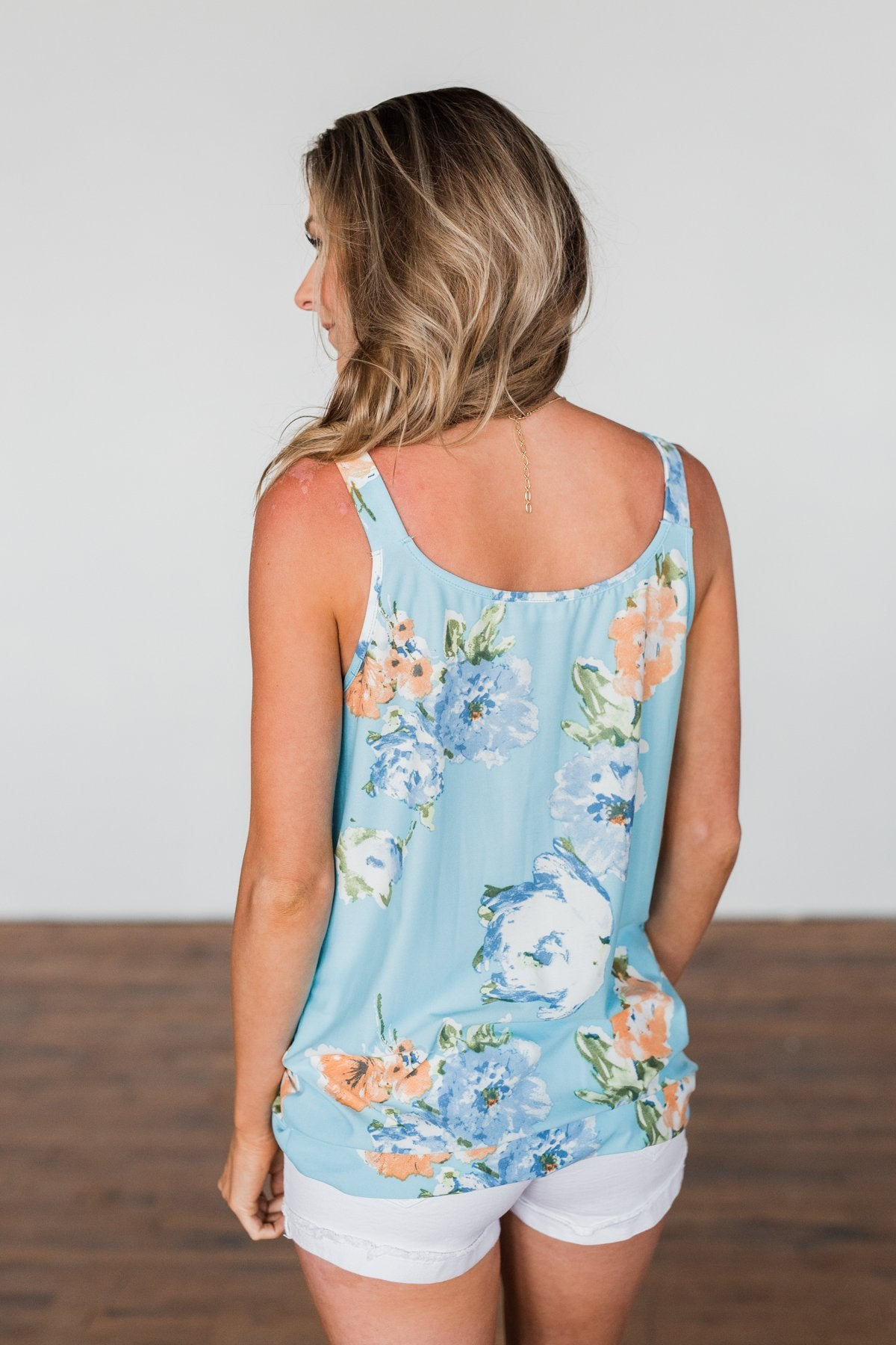 Everywhere I Go Floral Twist Tank Top- Sky Blue