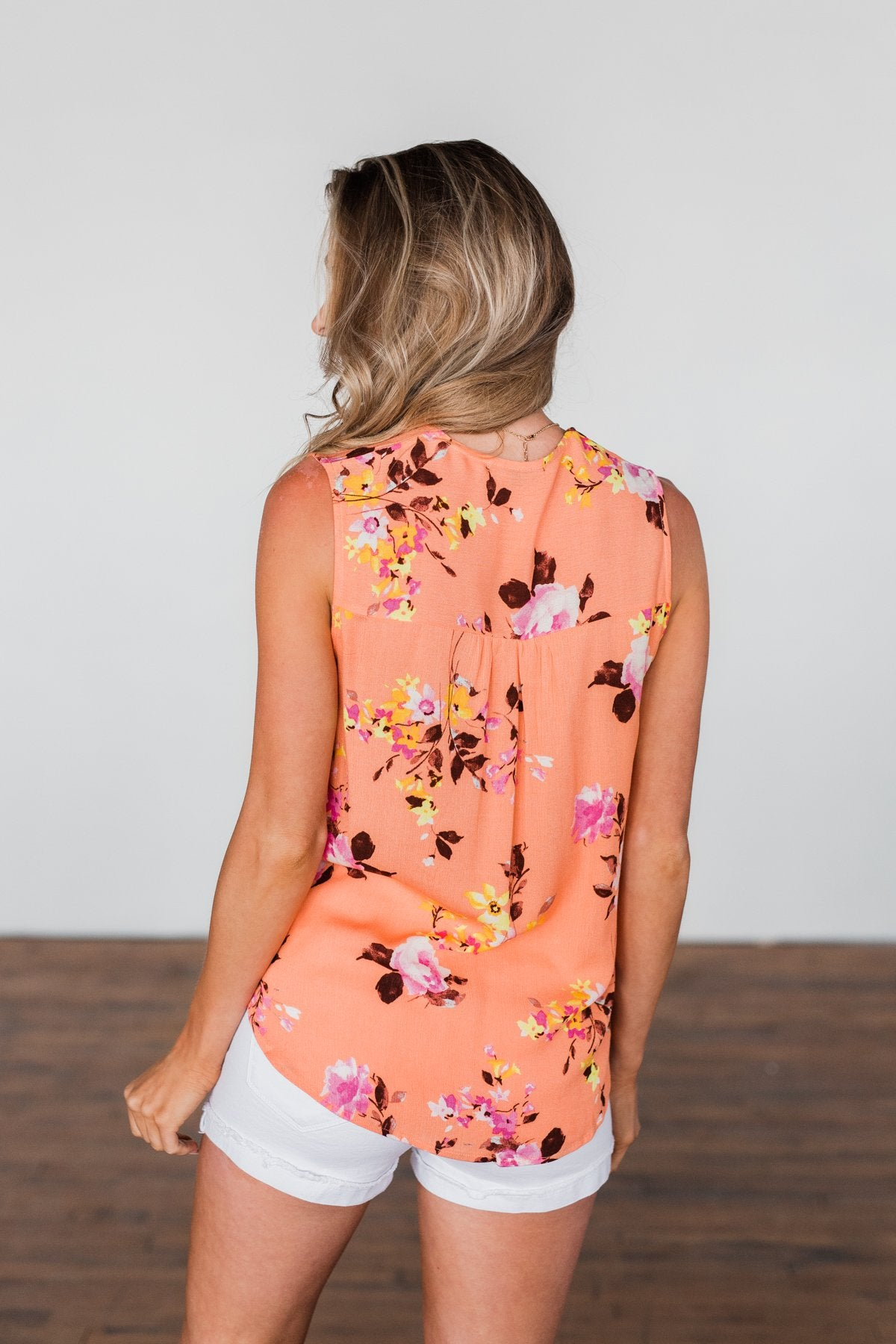 How Lovely Floral Tank Top- Peach