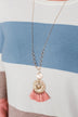 Round Pendant & Tassel Gold Necklace- Mauve