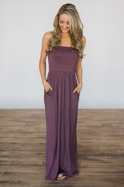 All that Charm Plum Strapless Dress