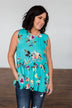 Tale Of Time Floral Babydoll Tank Top- Turquoise