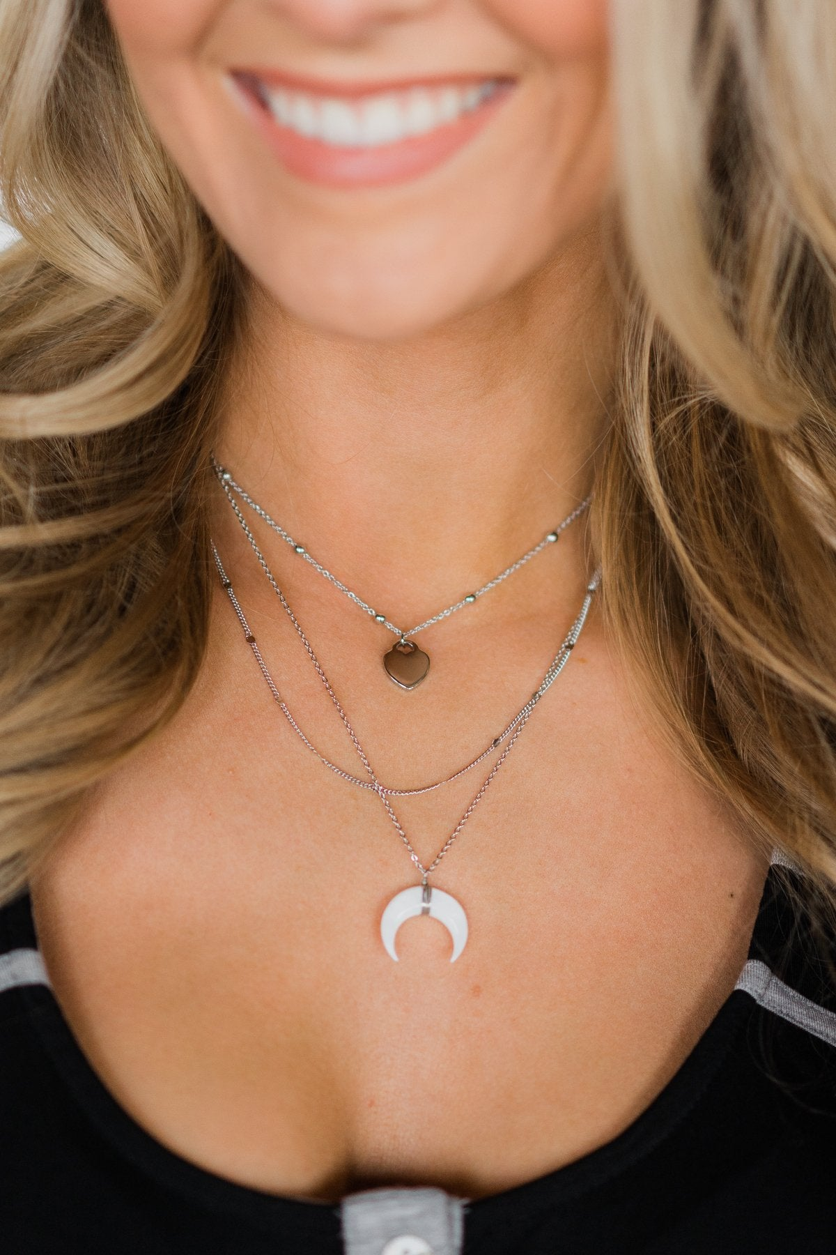 Classic Crescent Silver Necklace