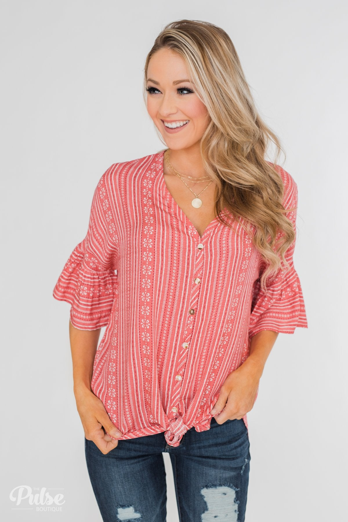 Take Me To The Tropics Front Tie Top- Grapefruit