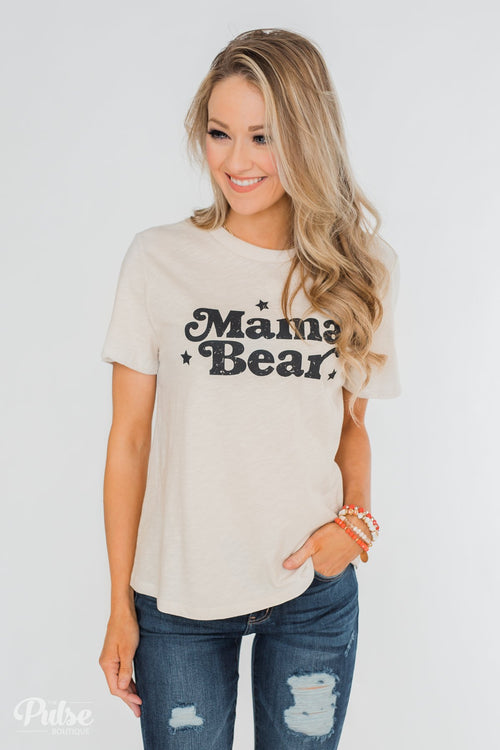 """Mama Bear"" Short Sleeve Tee Shirt- Beige"