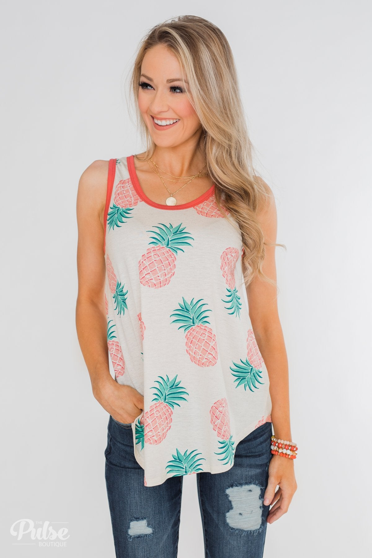 Time for Sunshine Pineapple Tank- Sand & Clay