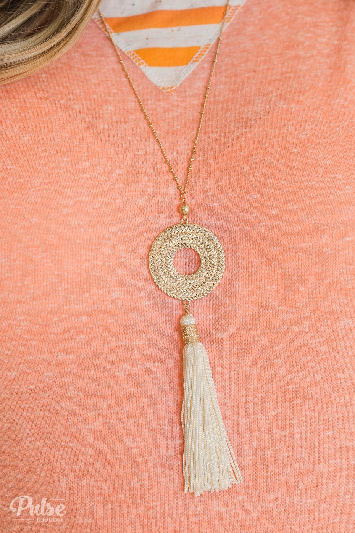 Gold Circle & Tassel Necklace- Ivory