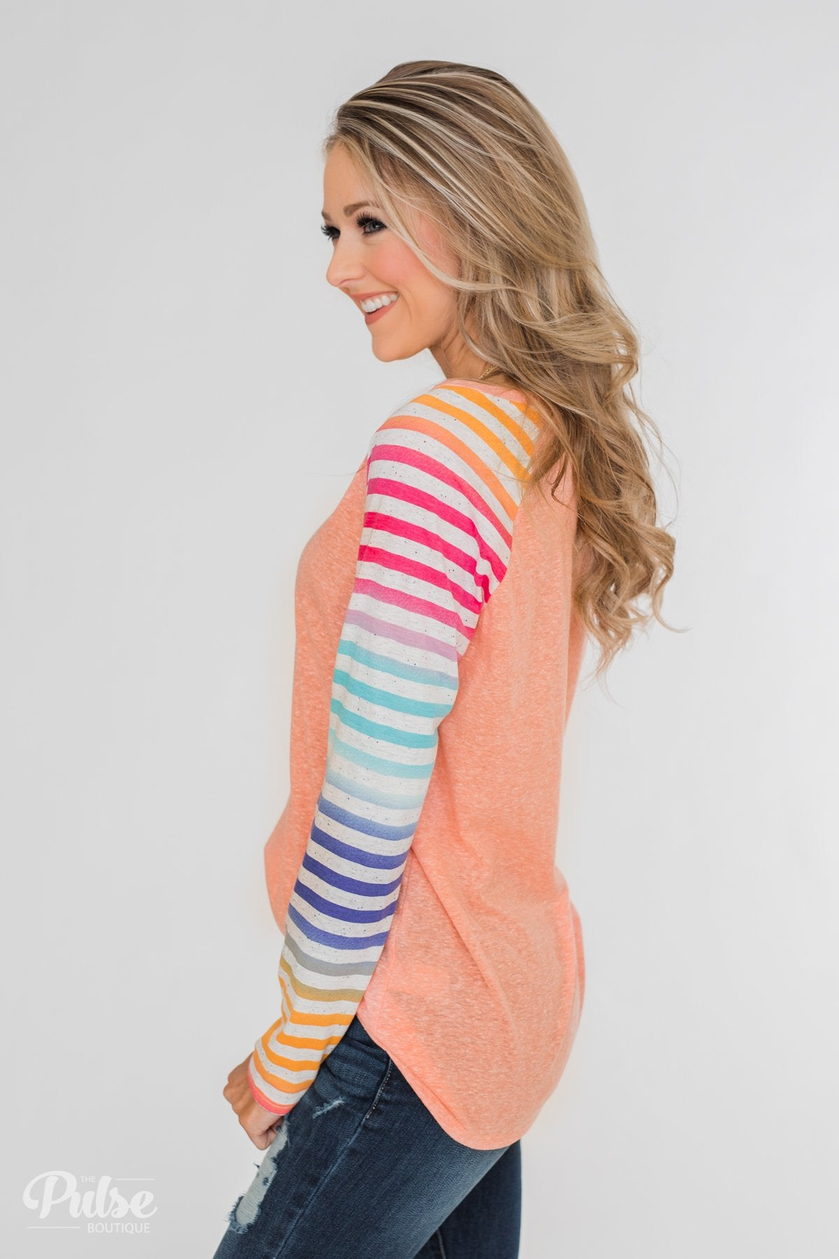 Multi-Colored Striped Sleeve Raglan Top- Peach