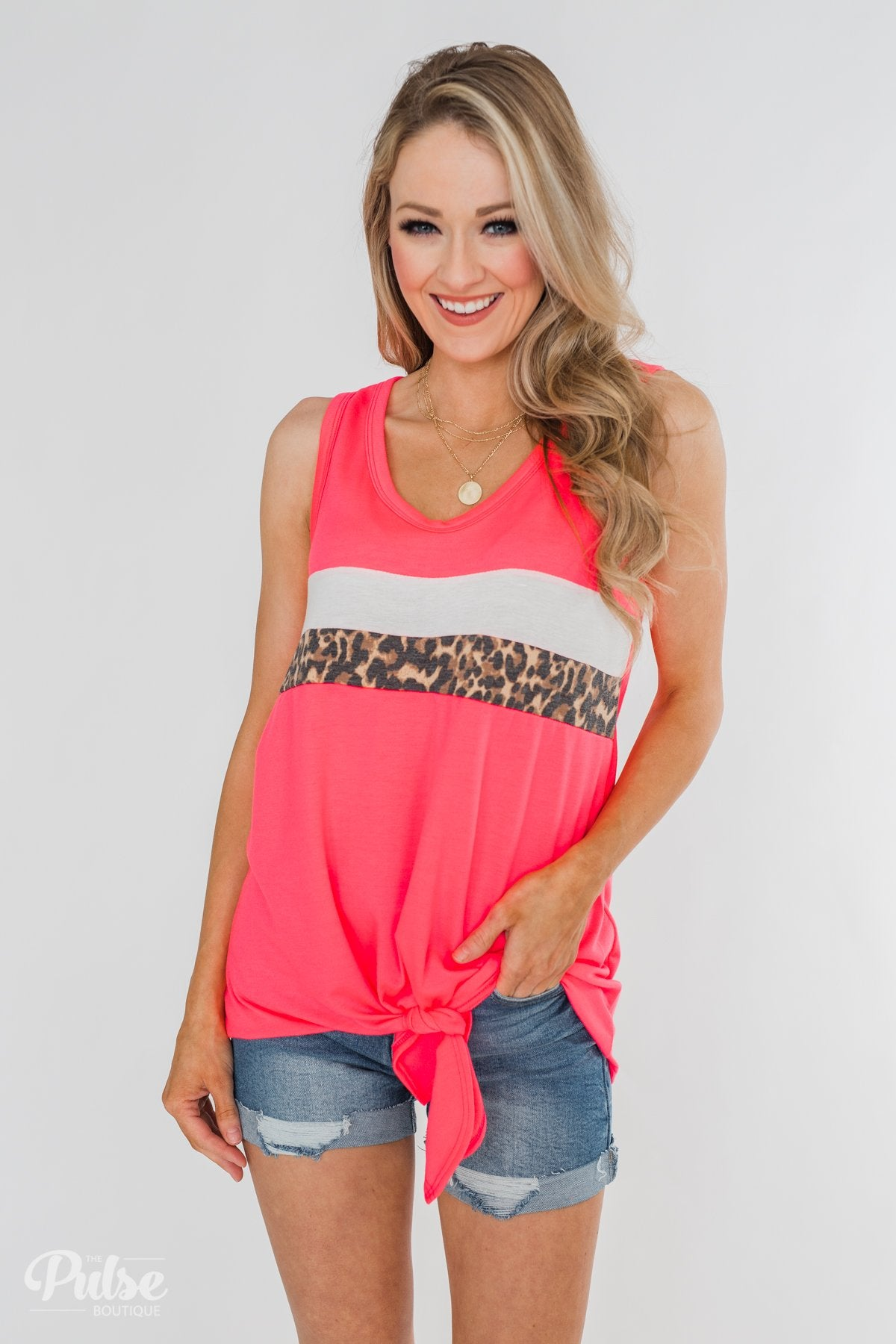 Bright in Leopard Tank Top- Neon Pink
