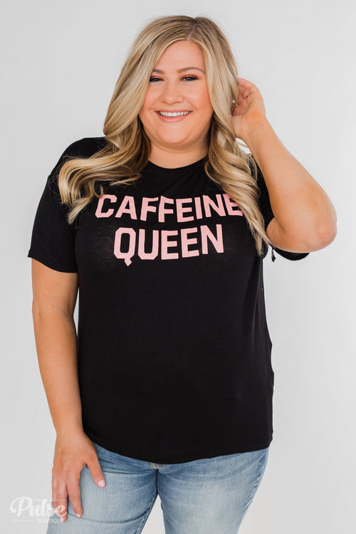 """Caffeine Queen"" Graphic Top- Black"