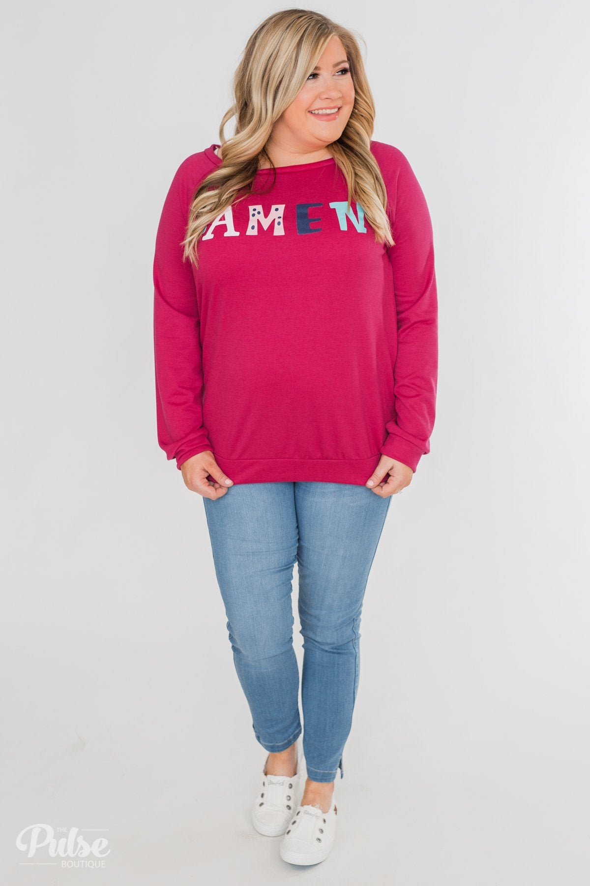 """Amen"" Graphic Pullover Top- Fuchsia"