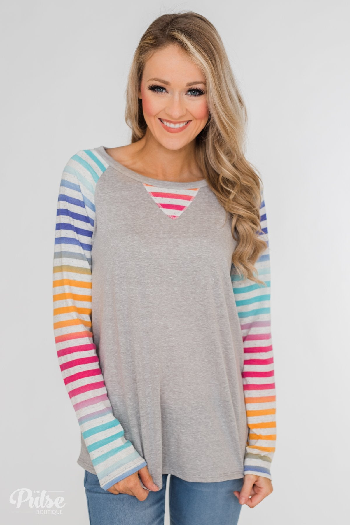 Multi-Colored Striped Sleeve Raglan Top- Grey