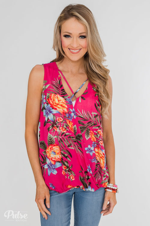 Criss-Cross Wrap Detail Floral Tank Top- Fuschia