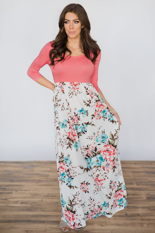 She's So Beautiful Floral Maxi Dress