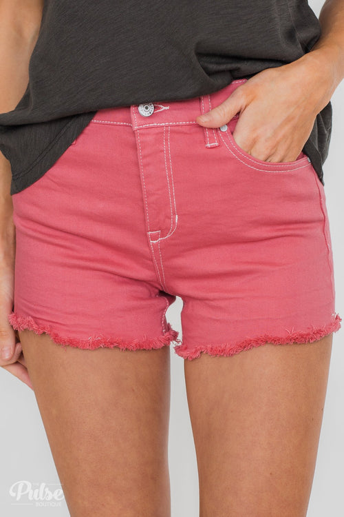 Celebrity Pink Frayed Hem Shorts- Lipstick