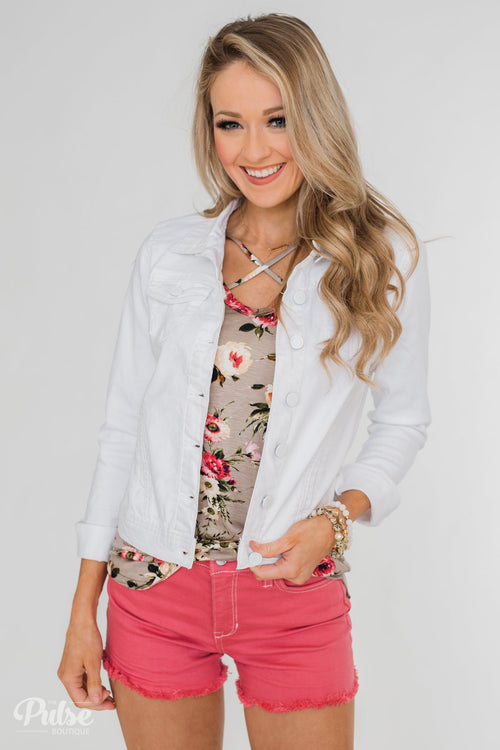 C'est Toi Non-Distressed Denim Jacket- White