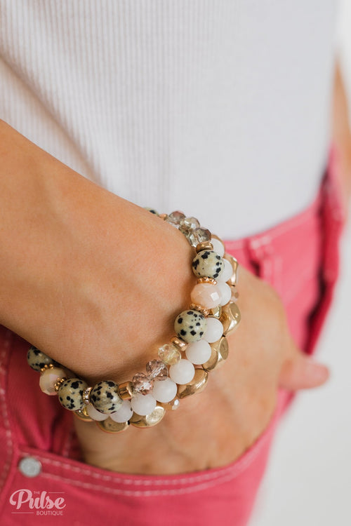 Spotted Beads Bracelet Set- White, Gold, Blush