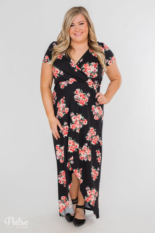 Still Into You Short Sleeve Floral Maxi Dress- Black