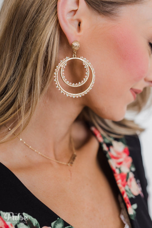 Beaded Double Hoop Gold Earrings- White & Blush