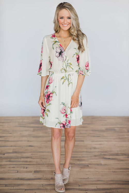 Right From The Start Cream Floral Dress Outfit