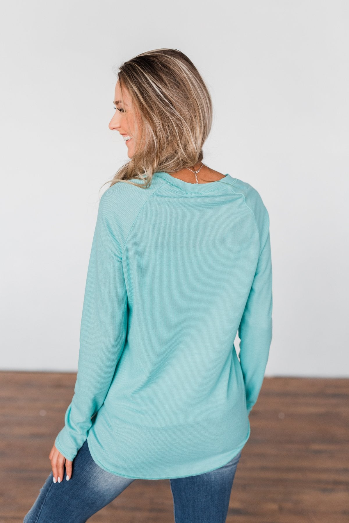 Well With My Soul Thermal Knit Top- Mint Blue