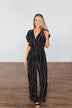 Dance All Night Striped Jumpsuit- Black