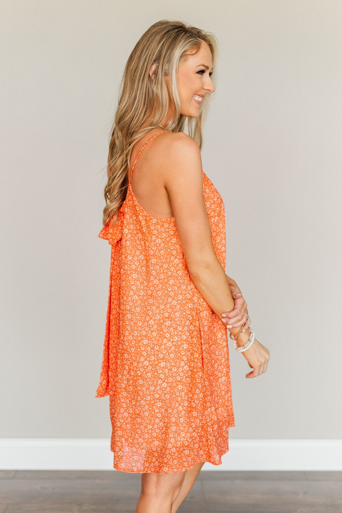 Delightful Moments Floral Dress- Vibrant Orange