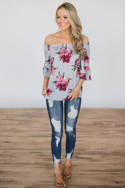 Bring on the Floral Off the Shoulder Top Outfit