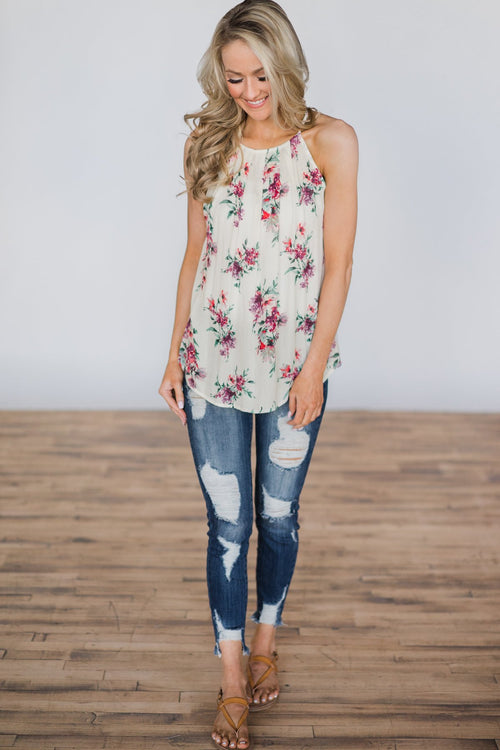 Embrace the Floral Ivory Halter Tank Top Outfit