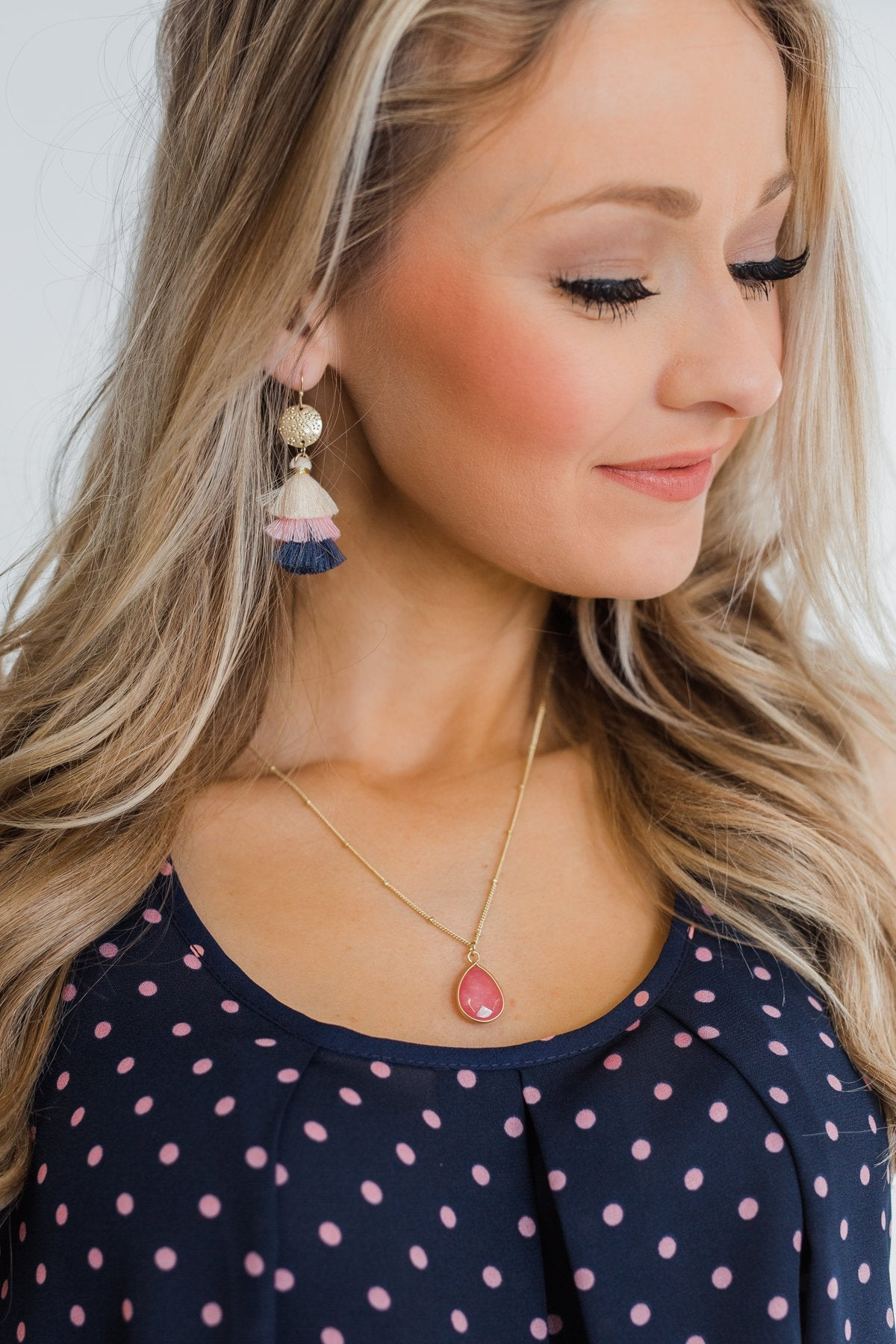 Layered Tassel Gold Earrings- Cream, Pink, & Navy