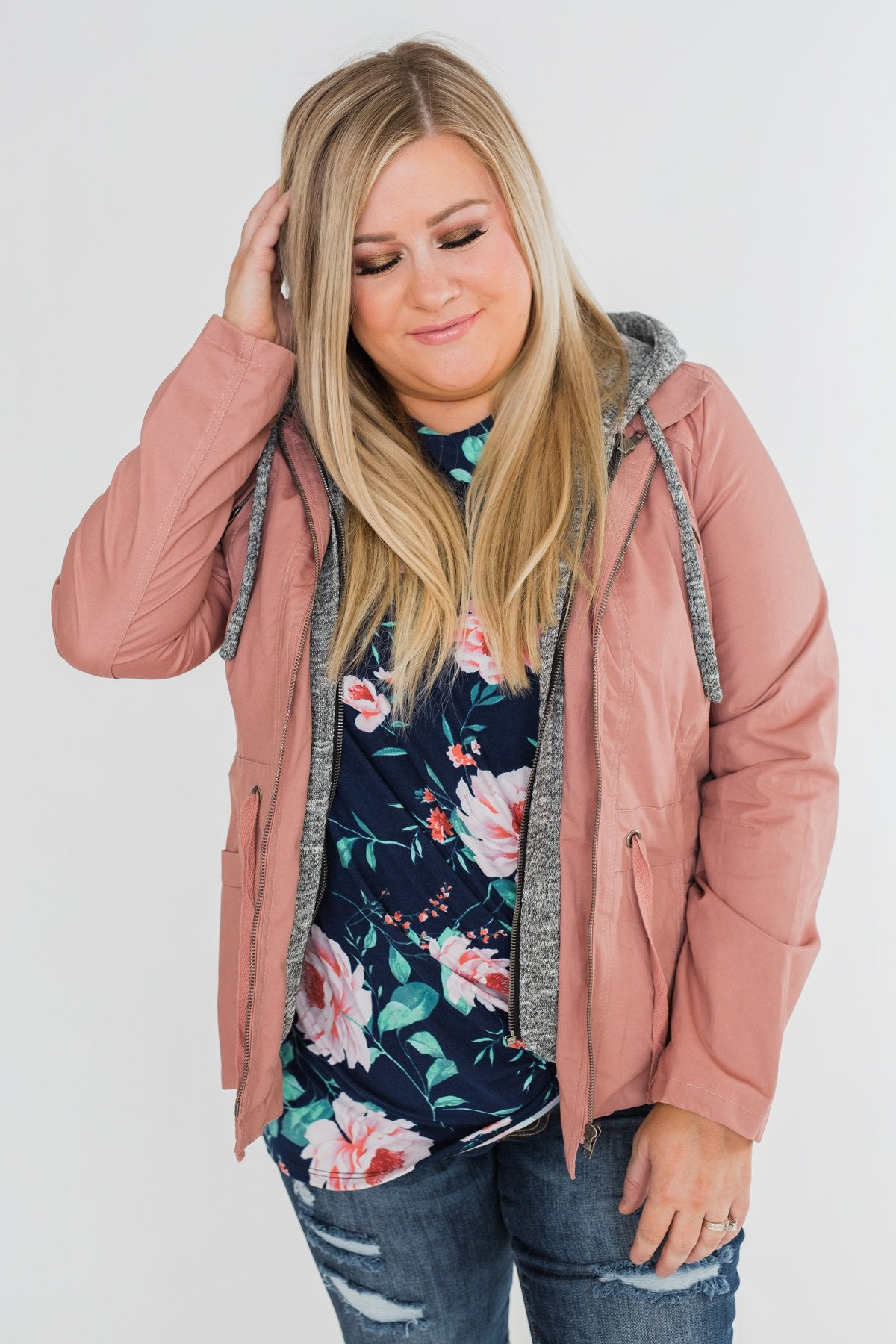 Essential Drawstring Hooded Jacket- Mauve