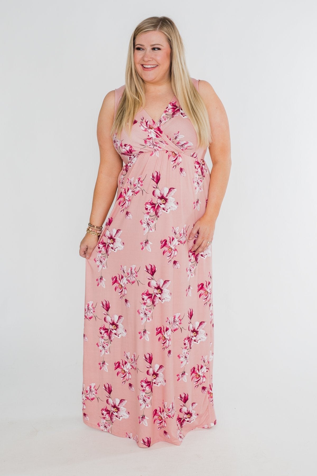 Daydreaming in Floral V-Neck Maxi Dress- Soft Pink