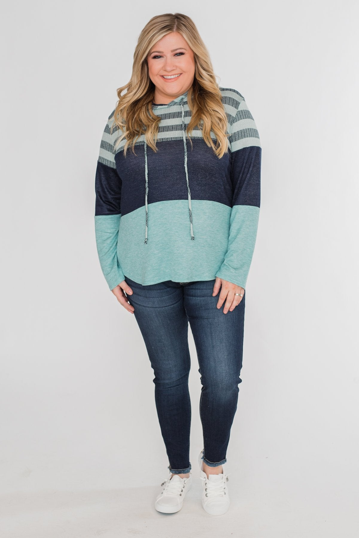 Speak to Me Color Block Drawstring Hoodie- Mint Blue