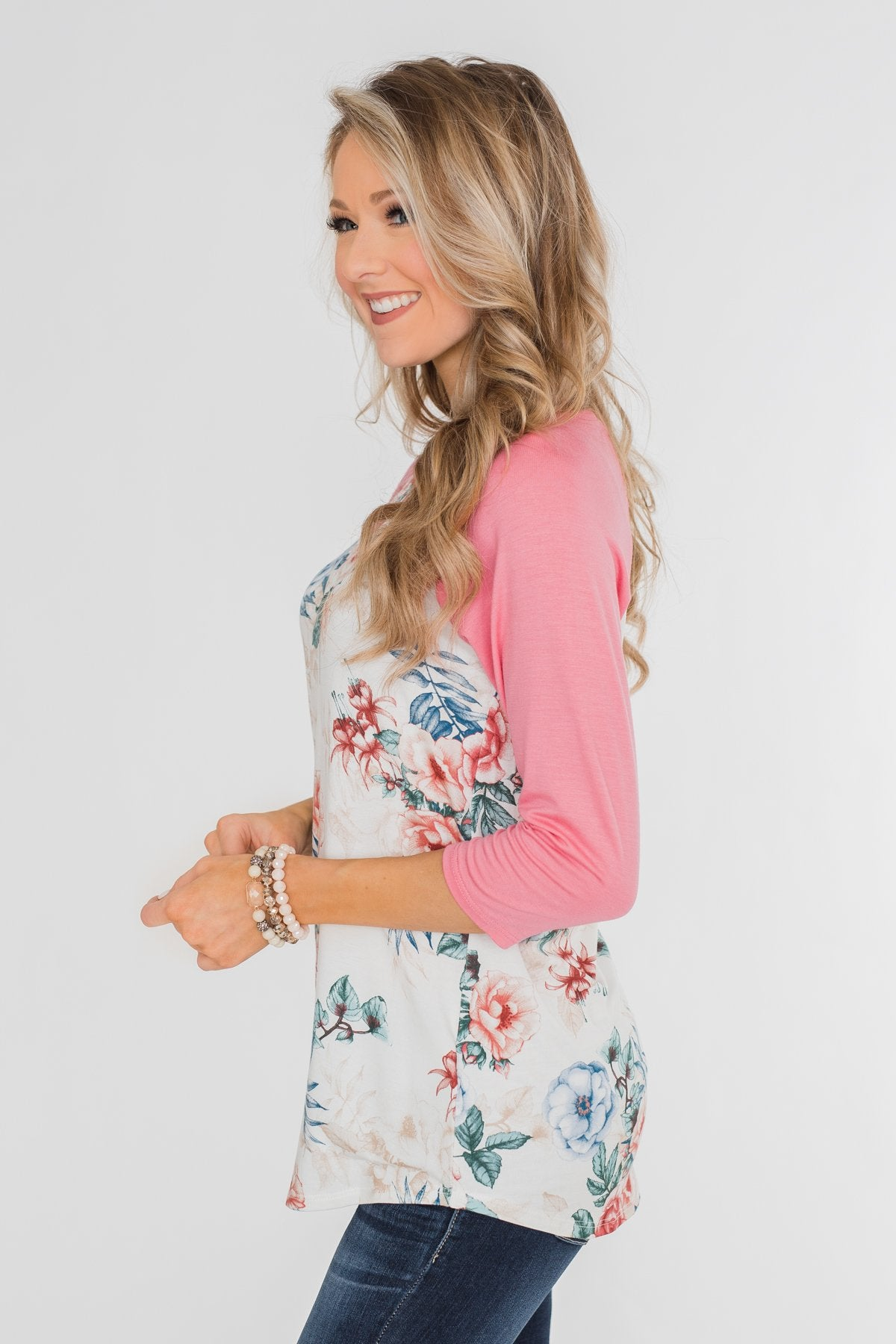 Floral Blessings 3/4 Sleeve Top- Ivory & Pink