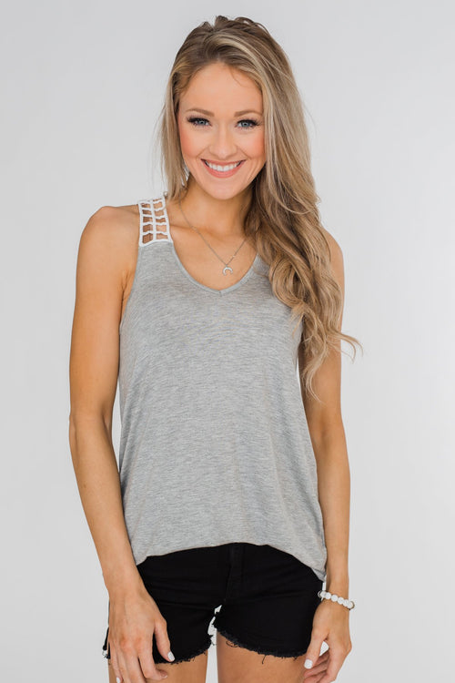 Tell Me Again Crochet Knit Tank Top- Heather Grey