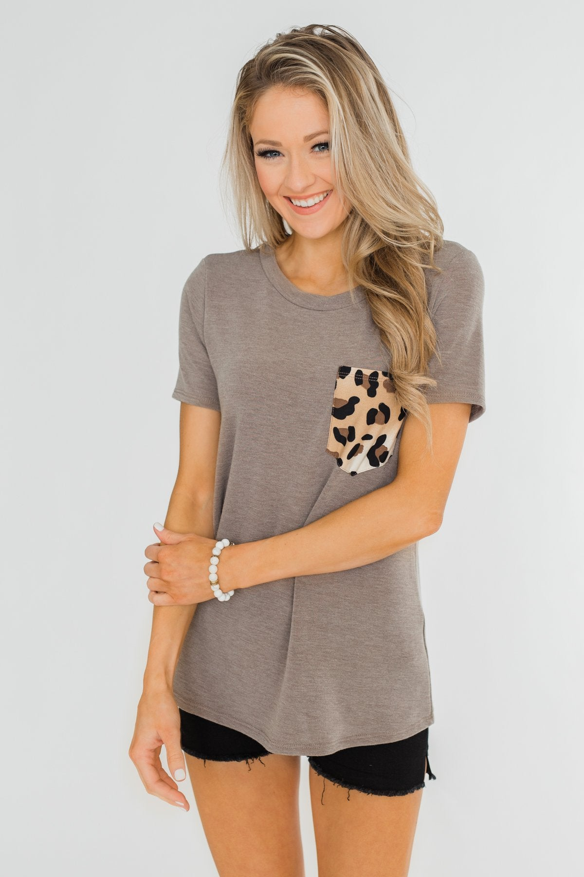 Wild At Heart Leopard Pocket Top- Taupe