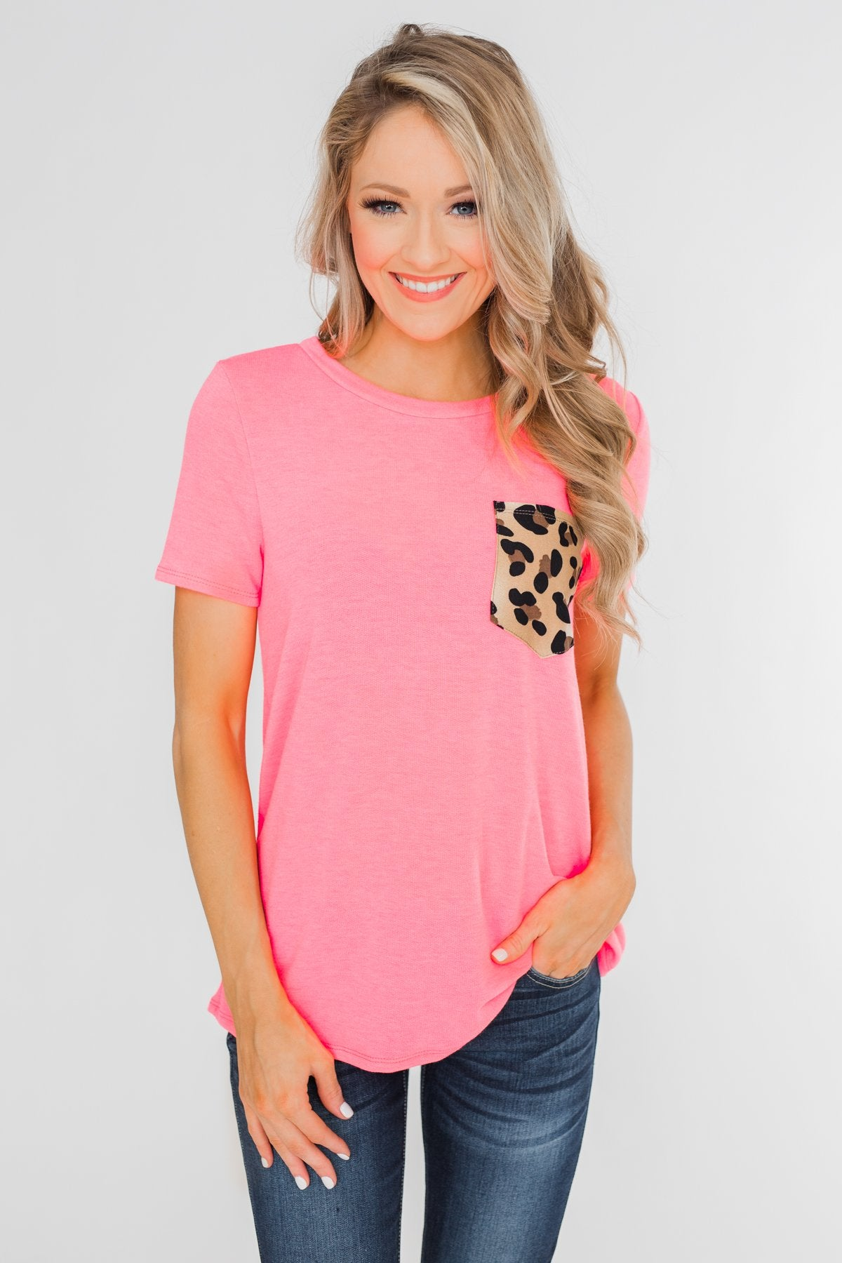 Wild At Heart Leopard Pocket Top- Bright Pink