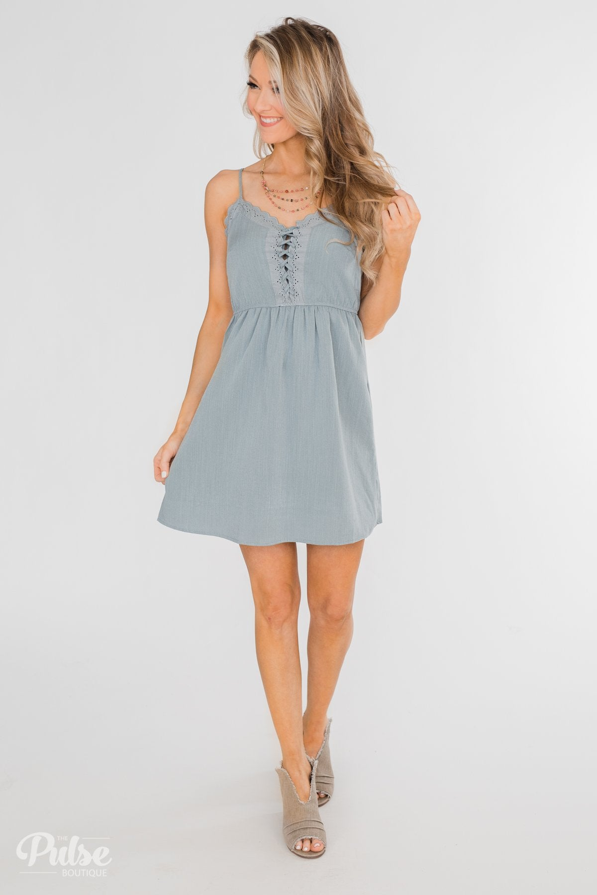 594dd60e3526 Take Me To Summer Lace Up Dress- Slate Blue – The Pulse Boutique
